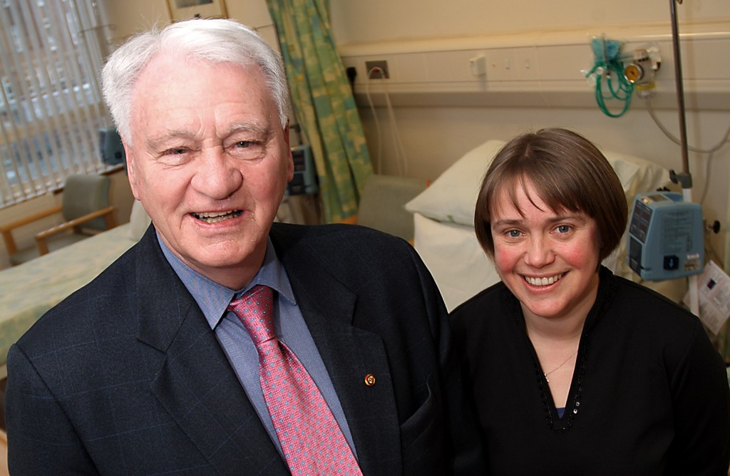 Sir Bobby Robson and Professor Ruth Plummer