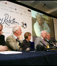 Sir Bobby Robson with Jim Rosenthal, Bob Wilson, Dr Ruth Plu